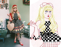 Shannen VM - Revival Gingham Patisserie Dress, Asos Red Cutsew, Milk Gold Heart Bag, Asos Red Mary Jane Flats - Brunch Looks