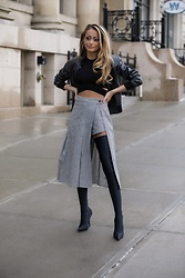 Lauren Recchia - Vince Leather Bomber, Sandy Liang Gingham Skort, Balenciaga Over The Knee Boots - Peek-A-Boo