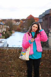 Chelsea Jade - H&M Jacket, Monki Jumper - Pink Fur and a Blue Jumper