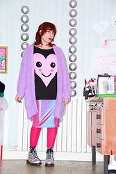 Luna Tiger - Monki Chunky Cardi, Pimkie Heart Metallic Pink Choker, H&M Cute Heart Jumper, Glamourous Holographic Pink Dress, Dr. Martens Holographic Doc - BE KIND