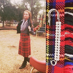 Adelaide B - Kilt Pin, Scottish Tartan, Blowfish Wool Booties, Grey Sweater - Not my Tartan