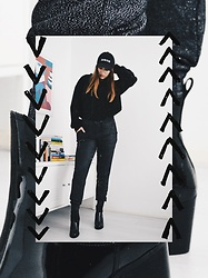 Odette - Calvin Klein Hat, New Look Sweater, New Look Glitter Pants, Sacha Lacquer Boots - Glitter joggers