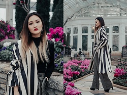 Pxkin - The Cat Lab Stripe Oversized Coat, Mango Stripe Wide Leg Pants, Black Booties, H&M Black Turtleneck Top, Charlotte Russe Circle Earrings, Aldo Long Necklace - Stripe Game