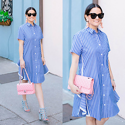 Jenn Lake - Sacai Striped Shirt Dress, Chanel Pink Flap Bag, Alexander Wang Rubie Sandals, Sachin And Babi Coconuts Earrings, Celine Marta Sunglasses - Sacai Striped Shirt Dress