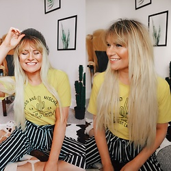 Fern Jenner - Shein Catcus Top, Shein Stripe Trousers - Cactus Tee