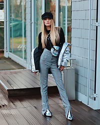 Laura Simon - Zara High Waist Pants, Topshop Metallic Silver, H&M Silver Jacket, Asos Silver Bag, Anthropologie Black Hat - Berlin Fashion Week Look