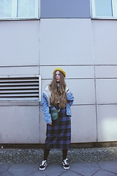 Elaine Hennings - Zara Checked Skirt, Vans Shoes, Fossil Bag, Topman Denim Jacket, Asos Beret - Beret Style Inspiration