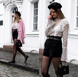 Catherine V. - Pimkie Beret, Asos Lace Blouse, Pimkie Coat, Pimkie Short, Sacha Loafers, Mini Straw Bag, Gucci Marmont Belt - Fishnet, Lace and Straw