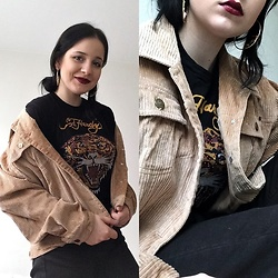 Natalia Pawlik - H&M Earrings, Ed Hardy Tshirt, Jacket, Stradivarius Jeans - 90's