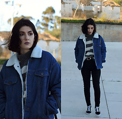Adriana R. - Gamiss Denim Fleece Jacket, Sammydress Retro Buckle Belt - New/Old Sweater & Buckle Belt | 80's Vibes