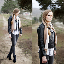 Emily S. - Asos Ankle Boots, H&M Scarf, Banana Republic Button Down, Zara Leather Jacket, Joe's Jeans - Cozy Neutrals