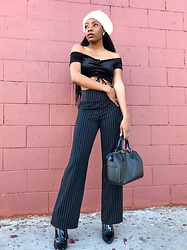 Shanell Holland - Material Girl Trousers, Forever 21 Top, Louis Vuitton Bag - Stripes n Berets