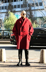 INWON LEE - Byther Wide Lapel Raglan Overcoat, Byther Military Combat Boots, Byther Black Cotton Slacks - Red The Big