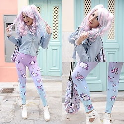 Marina Mavromati - Zaful Baby Blue Pu Leather Jacket, Shop Mermaid Rock Unicorn Leggings - -House Of Unicorn-
