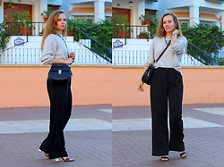 Rimanere Nella Memoria - H&M Jumper, Vila Pants - Wide Leg Trousers in black
