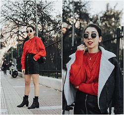 Theoni Argyropoulou - Vipshop Red Sweater, Zaful Necklaces, Shein Aviator Denim Jacket, Faux Leather Skirt, Zara Ankle Boots, Mango Bag, Stradivarius Buckled Belt - Where to find the most chunky red sweater on somethingvogue