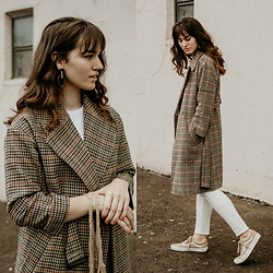 Tonya S. - The Frankie Shop Plaid Coat, The Frankie Shop Colorblock Earrings, Everlane White Denim, Tan Old Skool Vans - Plaid Coat and Statement Earrings