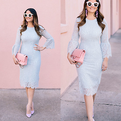 Jenn Lake - Rachel Parcell Lace Dress, Chanel Pink Classic Flap Bag, Kendra Scott Justyne Earrings, Steve Madden Lavender Pumps, Celine Marta Sunglasses - Rachel Parcell Lace Dress