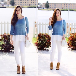 Natalie C - American Eagle Outfitters Denim X Jegging Crop Pant, Ann Taylor Sweater, Michael Kors White Bag, Urban Og Brown Booties - Brights and Blues