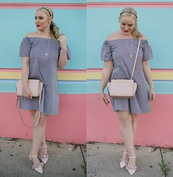 Ashleigh McCallum - Cue Off The Shoulder Gingham Dress, Michael Kors Selma Messanger Bag, Wittner Wandy Pump, Milk & Soda Pearl Diamante Headband, Pandora Hearts Of Winter Necklace, Pandora Hearts Of Winter Collier Necklace - Check Mate: The Gingham Edit