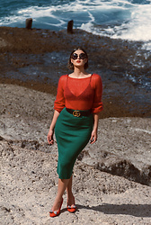 Wiktoria Celmer - Dolce & Gabbana Round Sunglasses, Gucci Belt, Zara Pencil Skirt - PURE SUMMER