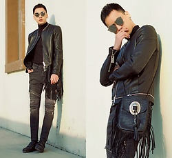 Chris Su - Gentle Monster Sunnies, Giorgio Armani Leather Jacket, Zara Jeans, Saint Laurent Bag, Gucci Sneakers - Super Black