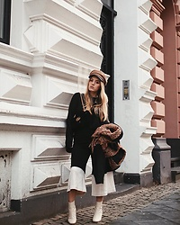 Fashiontwinstinct - &Otherstories Culottes, Topshop Baker Boy Hat, Gucci Velvet Bag - Baker Boy Hat x Two Tone Culottes.