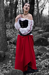 Ellone Andreea - Vintage Romanian Ie, Top Man Athens Pvc & Satin Corset, Stradivarius Statement Necklace, Diy Red Maxi Skirt, Vintage Black Maxi Skirt - Vampire Heart