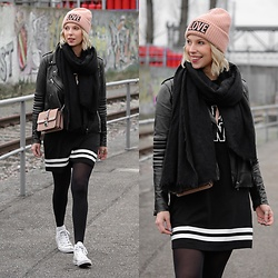 Lavie Deboite - H&M Leatherjacket, H&M Bag, H&M Dress, H&M Beanie, Converse Leatherchucks - Sporty Streetstyle