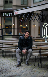 Dennis Van Peel - Levi's Black Trucker Jacket, Urban Legends Black Hoodie, Cinque Plaid Pants, Dr. Martens Boots - Dark Winter Look