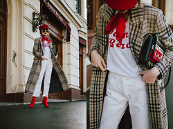 Andreea Birsan - Check Coat, Red Baker Boy Hat, White T Shirt, White Relaxed Jeans, Striped Shoulder Bag With Eyelet Details, Red Silk Scarf, Red Sock Boots, Oval Sunglasses - The best check coat