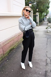 Anna Borisovna - Céline Sunglasses, Mango Earrings, H&M Sweater, Zara Bag, Zara Pants, Zara Shoes - Grey Zone