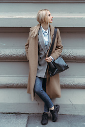 Adriana M. - Zara Checkered Jacket, Pinko Beige Coat, Zara Bag - OOTD: Preppy girl.