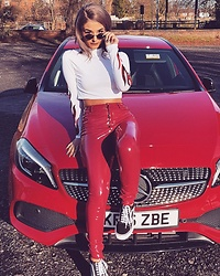 Sophia Smith - Oh Polly Red Vinyl Trousers, Vans Old Skool, Quay Purple Honey Sunglasses - Flame Baby