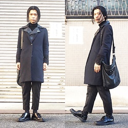 @KiD - Black Leather Riders Jacket, Uniqlo Under Cover Chesterfield Coat, Balenciaga Bag, Ch. Striped Pants, Dr. Martens 3 Hole - JapaneseTrash306