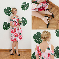 Cristina Siccardi - Dorothy Perkins Pink Floral Dress, Stradivarius Black & Pink Suede Heels - Everything's Rosè