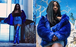 Enny Odeniyi - Bershka Blue Fur Coat, Topshop Embellished Fishnet Denim Skirt, Kurt Geiger Metallic Blue Knee Highs, Urban Outfitters Velvet Bodysuit - Ice blue mink