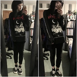 Idolsandanchors - Disturbia Transylvaniac Long Sleeve, Vans Authentic Black And White, Asos Velvet Leggings, Wanderdusk Collar Choker - Dusk To Day