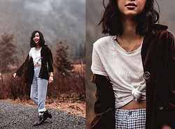 Gabby Chia - Brandy Melville Usa T Shirt, Brandy Melville Usa Pants, Newchic Ankle Boots, Kensie Girl Corduroy Jacket, Mini Lali Opal Necklace - You Can't Fall Off A Mountain