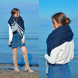 Tamara Bellis - H&M Denim Skirt, Oysho Blouse, H&M Poncho Wrap, H&M Over The Knee Boots - Island Chic & Warm