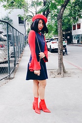 Cassey Cakes - Mango Top, Dorothy Perkins Dress, Missguided Sock Boots - Touch the Color: RED