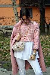 Marija M. - Shein Pink Tweed Top, Gamiss Pink Coat, Gamiss Tweed Bag, H&M White Jeans - Pink tweed top