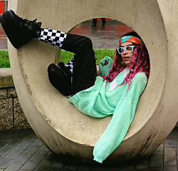 Milex X - Diva Trees Wig, The Rave Cave Sunglasses, Pop Sick Vintage Sweater, We Are Cow Jeans - PURPLE HAIR