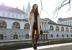 Veronika Lipar - Maxmara Off White Double Breasted Wool Coat, Falke Black Polka Dot Sheer Tights, Stuart Weitzman High Shine Rose Gold Ankle Strap Sandals, Storets Black Mini Skirt, Forzieri Blue Leather Gloves - EVERYONE CHIC WILL WEAR THESE FOR A NIGHT OUT THIS WEEK