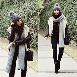 Attalia DASBEL - H&M Hat, Bershka Faux Jacket, Zara Scarf - MY DEFINITION OF A WINTER LOOK