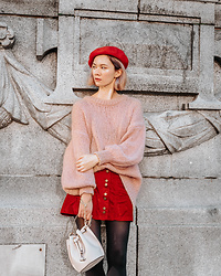 Arielle - Zara Balloon Sleeve Sweater, Zara Suede Skirt, H&M Wool Beret, Zara Bucket Bag - Valentine's Day