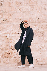 Enea Nastri - Burberry Overcoat, Zara Palazzo Trousers, Zara Baseball Top, Nike Af1 - Dark love