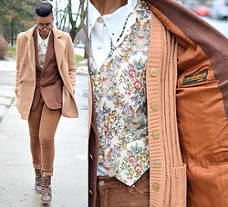 Sushanna M. - Beige Double Breasted Coat, Thrifted Vintage Floral Collar Blouse, Thrifted Vintage Tapestry Vest, Thrifted Vintage Beige Cardigan, Thrifted Vintage Men's Brown Suit Jacket - Mr. & Mrs.