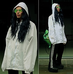 Milex X - The Rave Cave Sunglasses, Diva Tress Wig, Pop Sick Vintage Jacket, Adidas Pants, Hannisch Backpack - THE MOST CASUAL