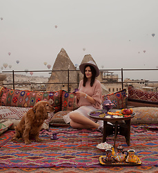 Viktoriya Sener - Romwe Sweater, Romwe Skirt, After Midnight Hat - MORNING IN CAPPADOCIA